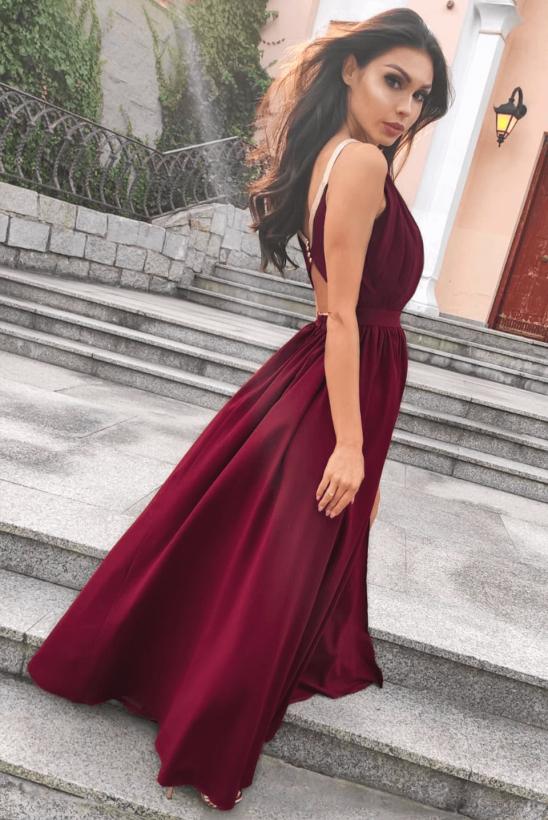ELISA dluga bordowa sukienka
