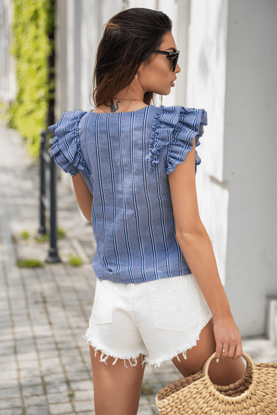 MARRIE blouse with blue stripes by Illuminate
