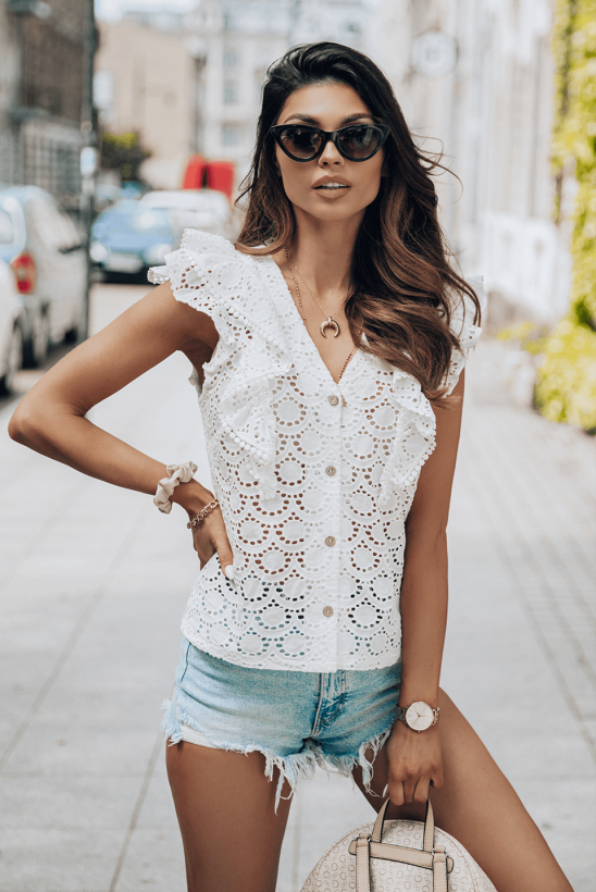 MARRIE white lace blouse by Illuminate