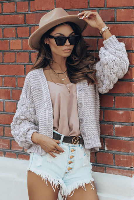 Bubble sweater dark beige