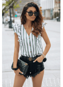 MARRIE green striped blouse by Illuminate
