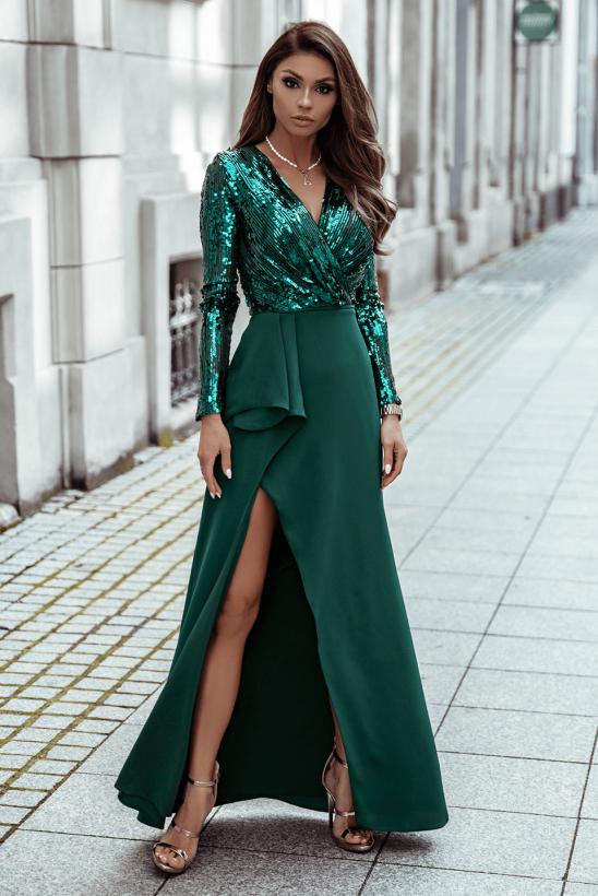 NAOMI zielona dluga sukienka