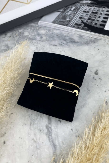 Double gold bracelet moon stars stainless steel 316L