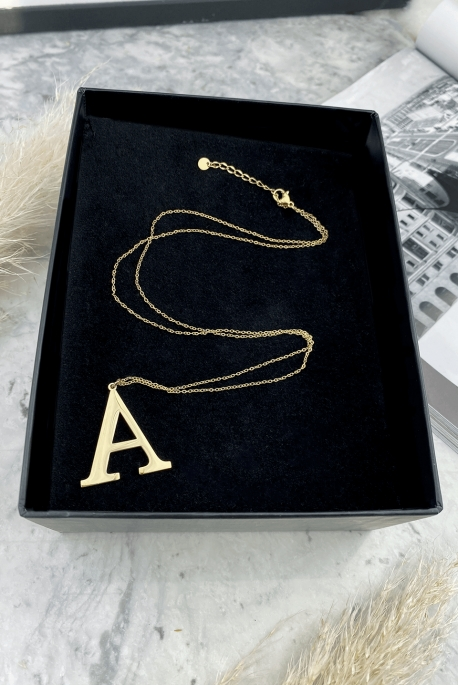 Gold letter on A chain in 316L stainless steel
