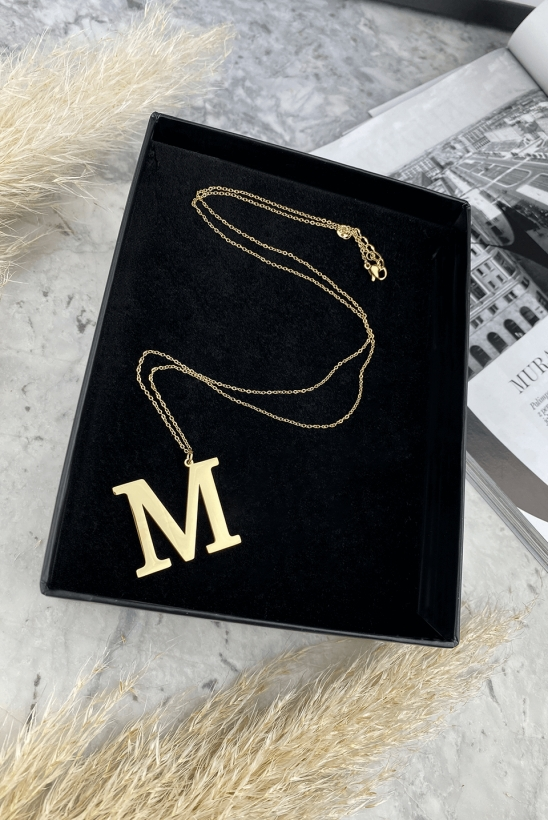 Gold letter on a chain M stainless steel 316L