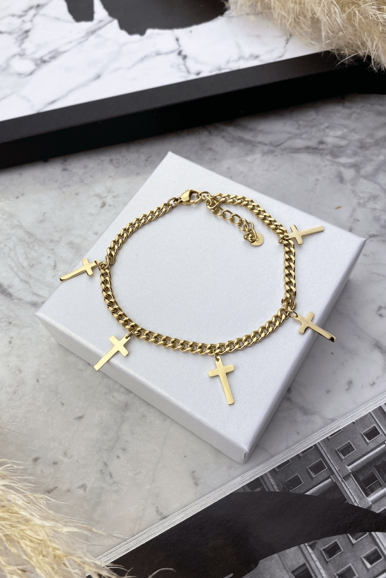 Bracelet with crosses, chain, stainless steel 316L
