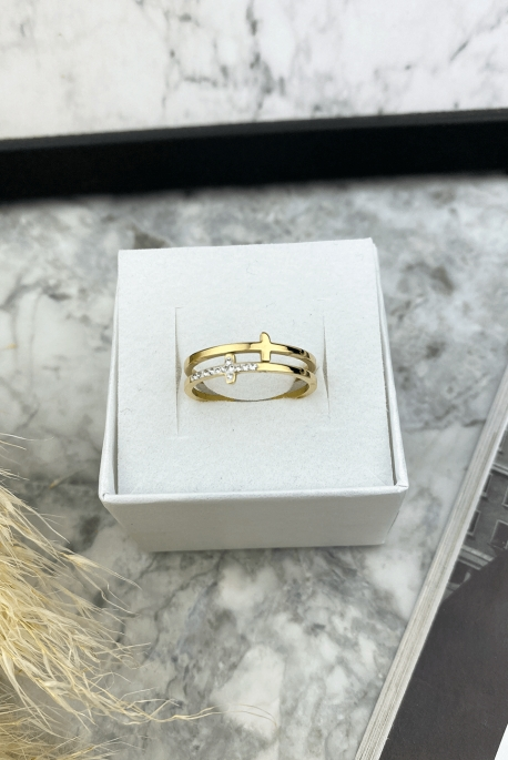 Gold-plated double ring of crosses with zircons, stainless steel 316L