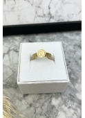 Gold snake ring with a round ring in the shape of a medallion stainless steel 316L