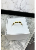 Gold wing ring with cubic zirconia stainless steel 316L