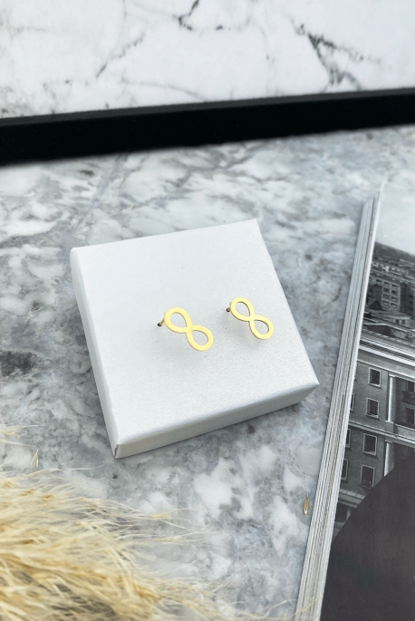 Gold earrings infinity stainless steel 316L