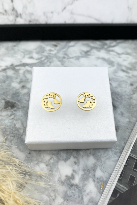 Gold continents earrings 316L stainless steel