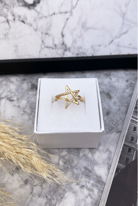 Gold-plated star ring with cubic zirconias stainless steel 316L