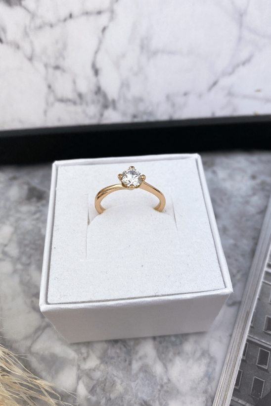Gold ring with zircon surgical steel 316L