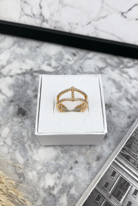 Double rose gold ring with zircons stainless steel 316L