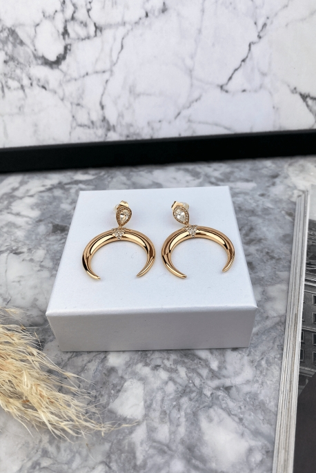 Gold crescent earrings stainless steel 316L