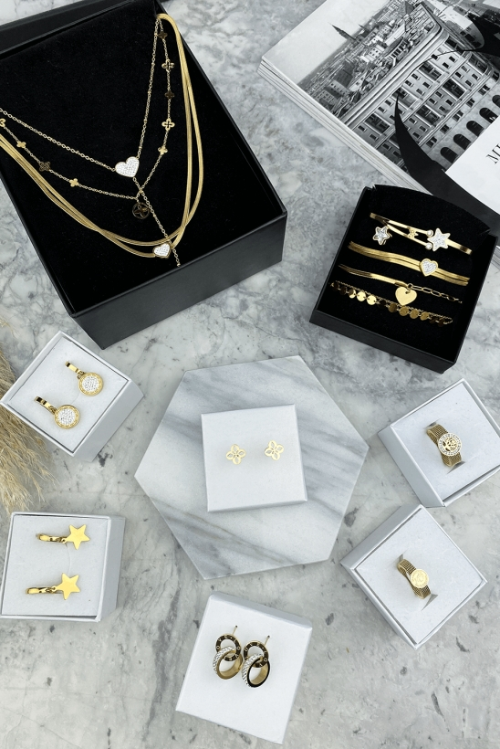 Gold celebrity necklace 316L stainless steel