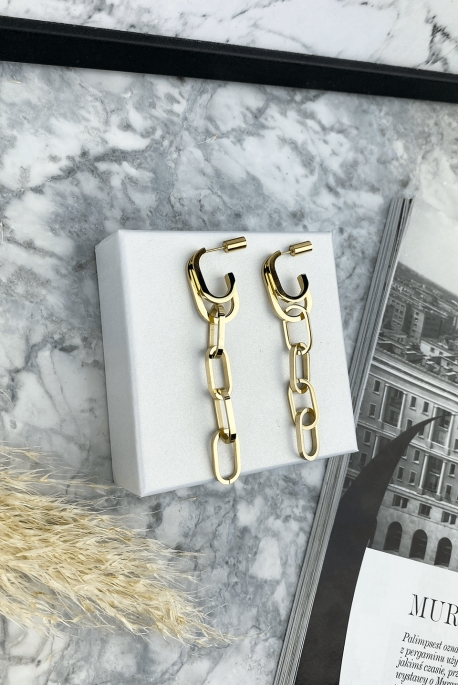 Gold chain earrings stainless steel 316L