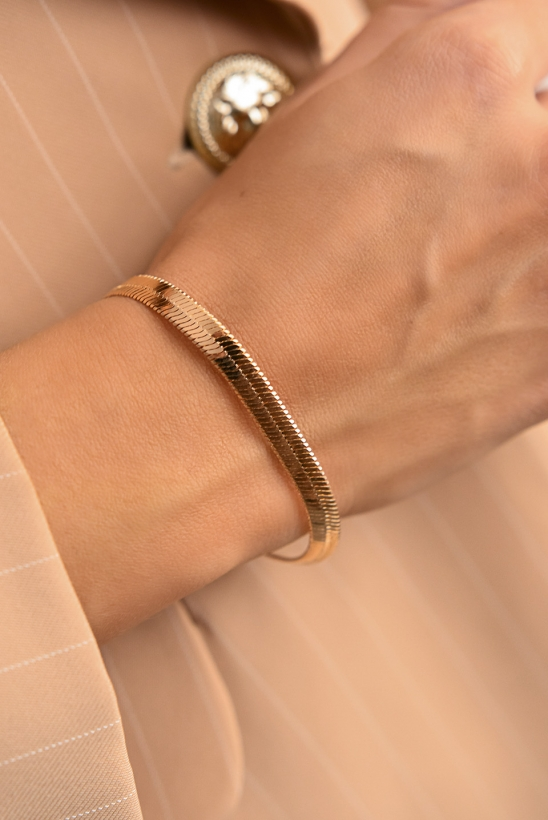 "Chain bracelet with a ""snake"" weave rose gold 316L stainless steel"