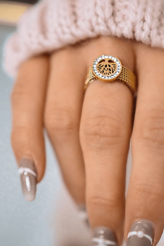 Gold-plated snake ring, tree, zircons, stainless steel 316L