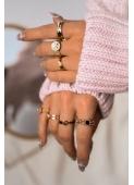 Podwójny złoty pierścionek z cyrkoniami i cyframi rzymskimi stal chirurgiczna 316L