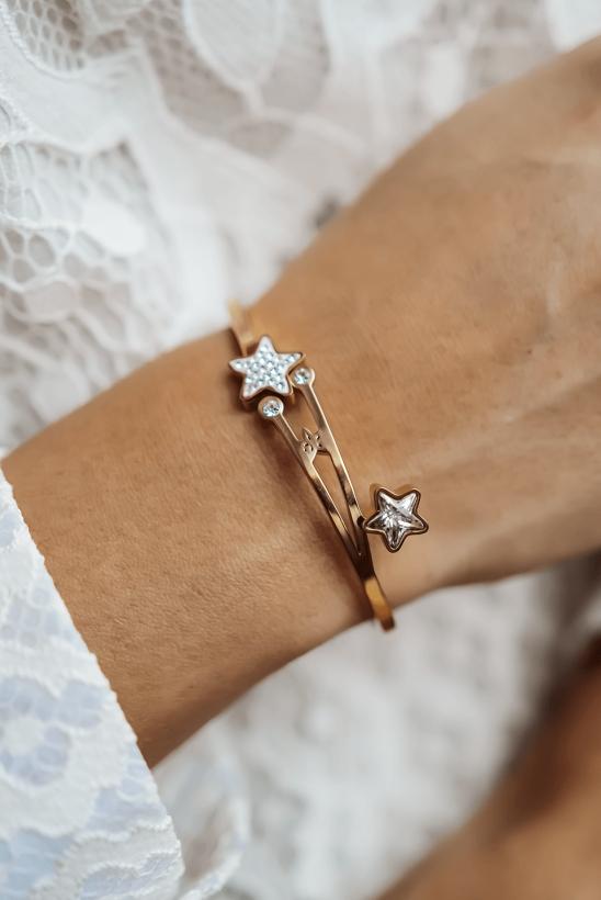 Gold-plated bracelet, hoop stars, rhinestones, stainless steel 316L