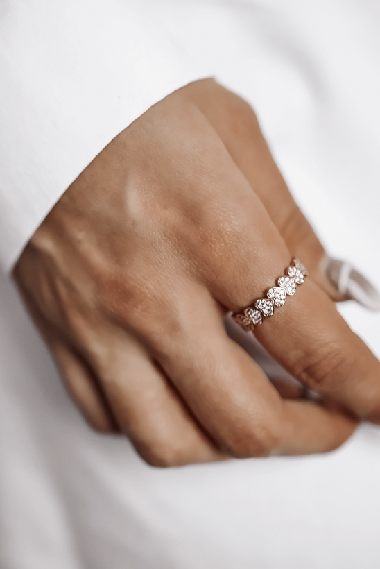 Gold-plated heart ring with zircons stainless steel 316L