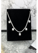 Silver crystal necklace necklace stainless steel 316L