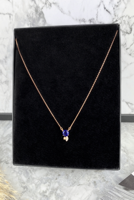 Rose gold necklace with a cobalt pendant in 316L stainless steel