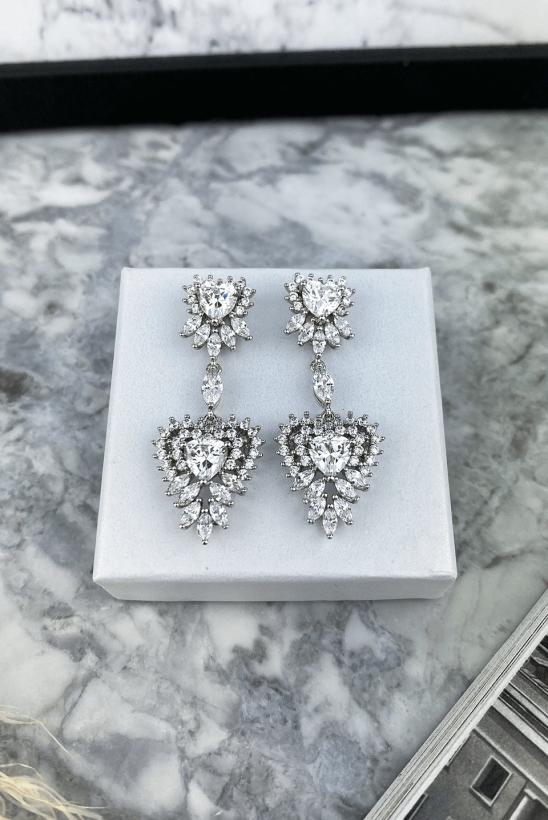 Silver crystal heart earrings 316L stainless steel