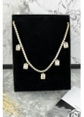 Gold crystal necklace necklace stainless steel 316L