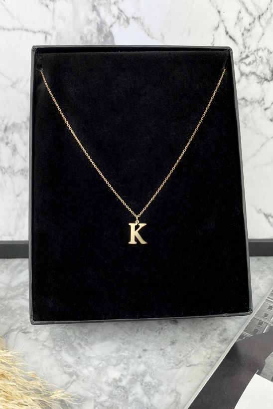 Gold letter on K chain in 316L stainless steel
