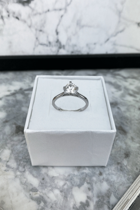 Silver ring with zircon stainless steel 316L