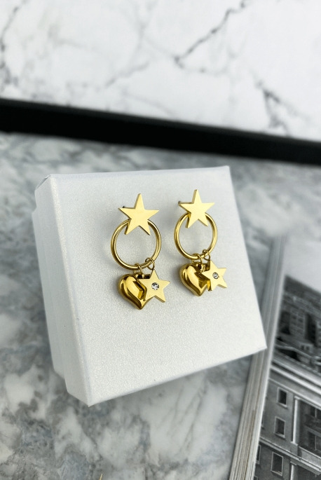 Earrings with a star-shaped heart pendant in 316L stainless steel.