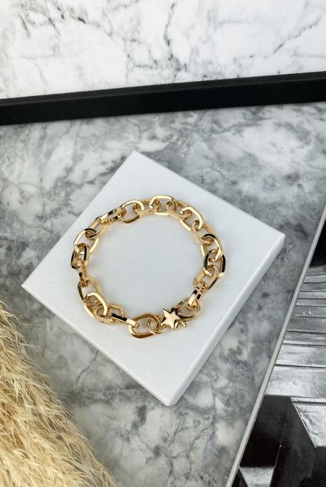 Bracelet rose gold star surgical steel 316L