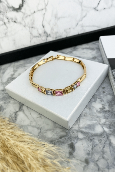 Modular bracelet with colored crystals stainless steel