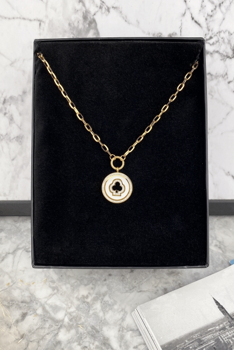 Gold-plated armored chain with a round white zircons pendant 316L stainless steel