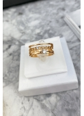 Gold ring with chain motif and cubic zirconia 316L stainless steel