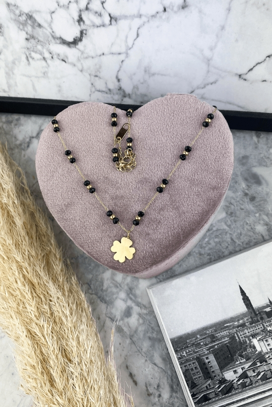 Necklace with black beads four-leaf clover surgical steel 316L