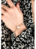 A bracelet with a delicate chain of pearl rings stainless steel 316L