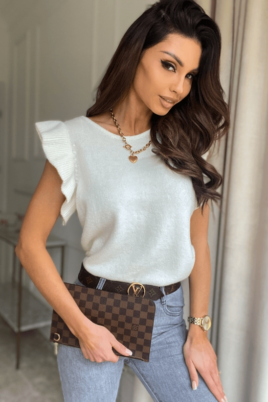 YVONNE white knitted blouse