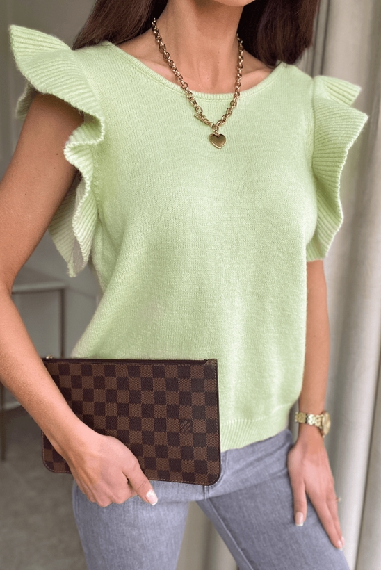 YVONNE green knitted blouse