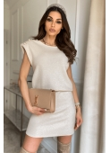 POLLY beige knitted dress