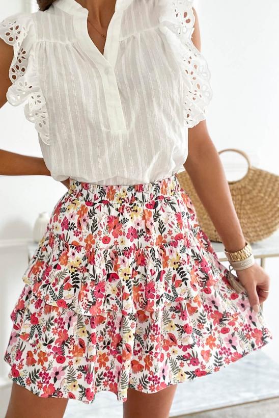 VIOLA white flowers skirt by Illuminate