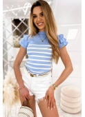 TRACY blue striped blouse