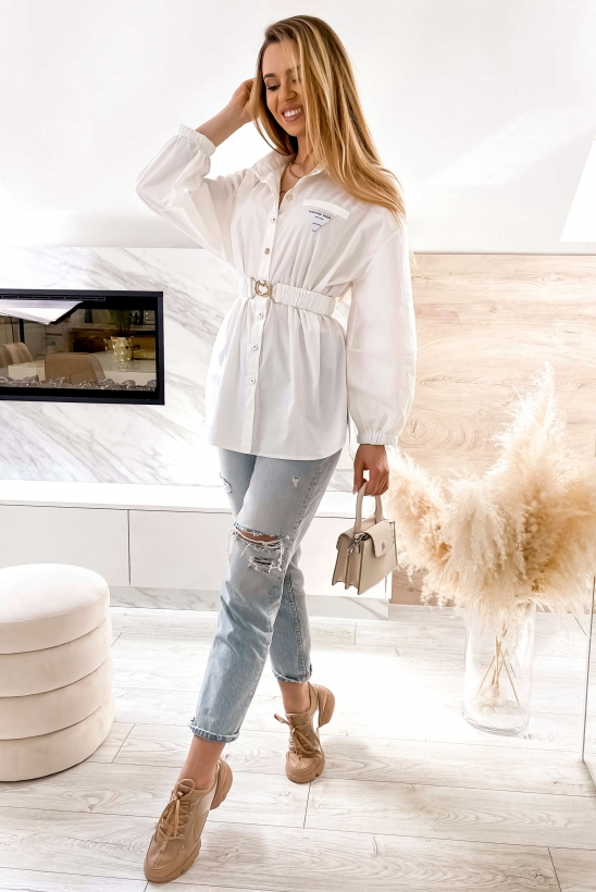 STACY white shirt with belt
