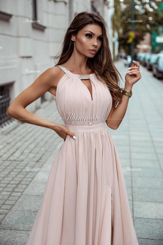 ELISA długa cielista sukienka