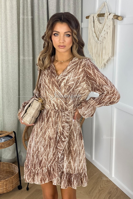 KERRY coffee dress with a snake pattern