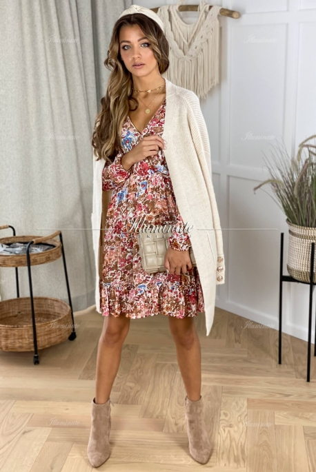 LENA brown dress with flowers