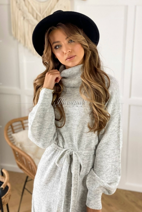 BARI gray knitted dress with turtleneck