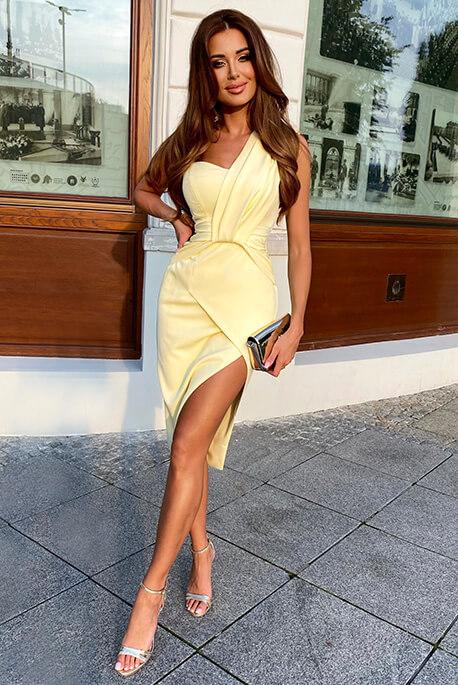 Greta żółta sukienka na wesele Illuminate